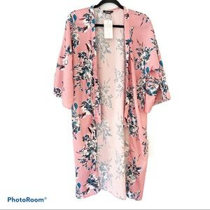 NWT Pink Floral Long Kimono Swim Coverup- XL